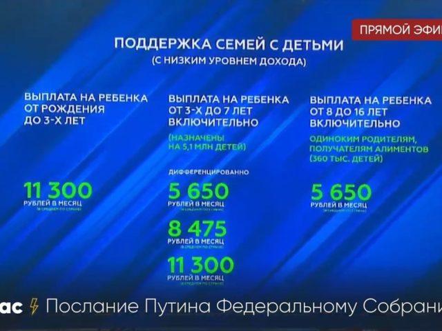 скрин стенда с видеопослания Владимира Путина